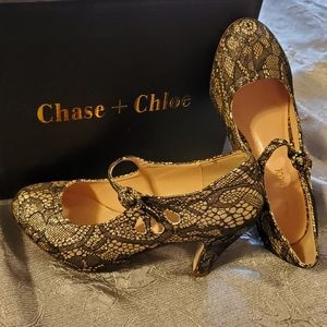 📢🎁 Chase & Chloe | Black & Gold Lace Heels